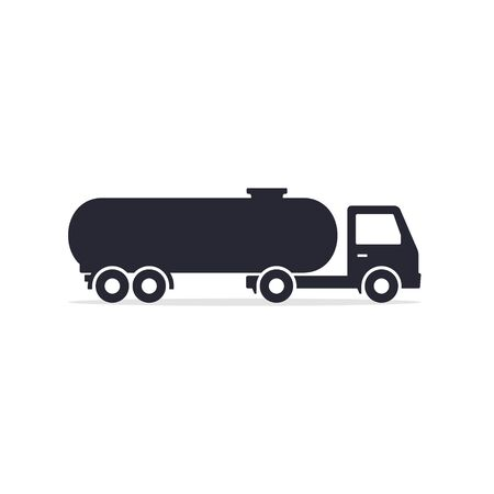 Tank truck icon, cistern truck black flat silhouette illustration.