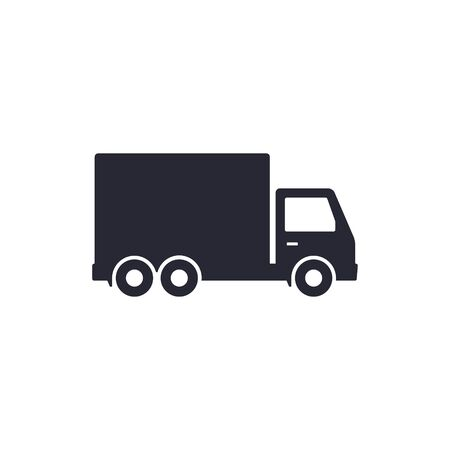 Delivery truck icon isolated on white background. Vector black illustration.  イラスト・ベクター素材