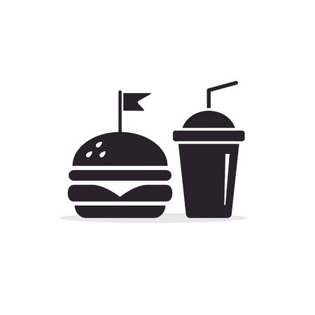 Fast Food Vector Icon. Burger and juice or cola drink isolated symbol.