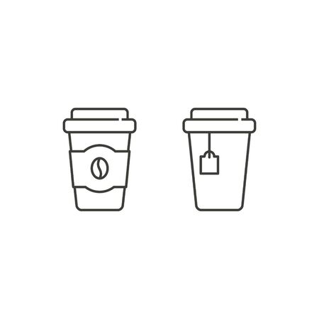 Drink Cup icon line set, Coffee, tea Set of paper and plastic cups, Vector isolated illustration.