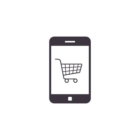 Smart Phone online shopping icon with shopping cart on display, ecommerce concept. Vector isolated symbol. Stockfoto - 146275344