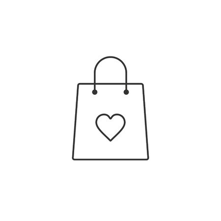 Shopping bag with heart line icon vector, I love shopping concept.