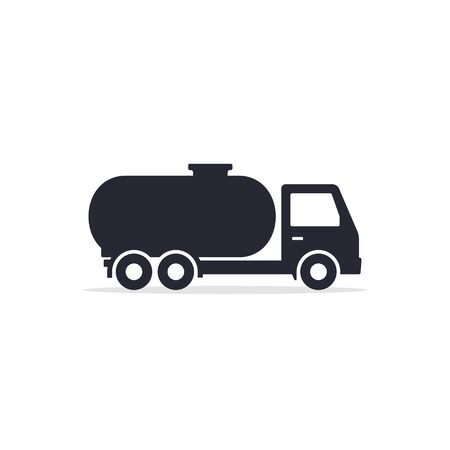 Tank truck icon, cistern truck sign, black flat silhouette illustration.