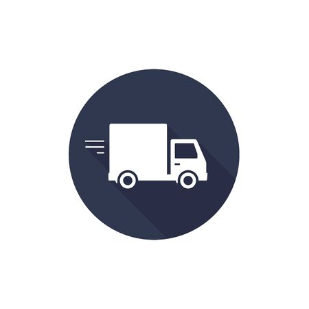 Delivery truck icon isolated on black round background with long shadow. Vector sign flat design illustration.  イラスト・ベクター素材