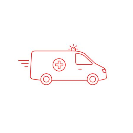 Ambulance car line icon, Vector isolated simple flat outline illustration.  イラスト・ベクター素材