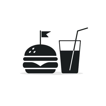 Fast Food Vector Icon. Burger and soda or cola drink isolated symbol. Stockfoto - 145703232