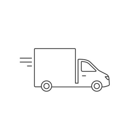 Delivery truck line icon isolated on white background. Vector black outline illustration. Stockfoto - 145702946