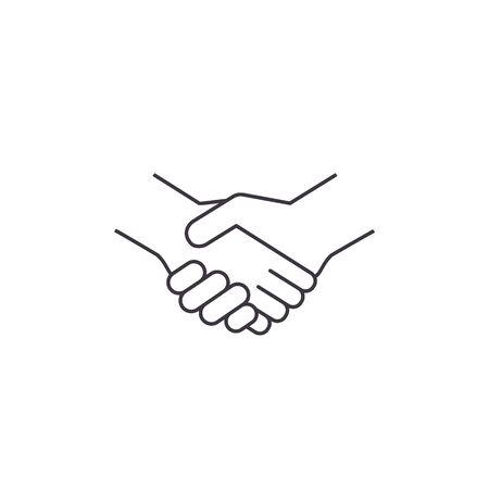 Business handshake, contract agreement line art vector icon.