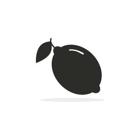 Lemon icon, Vector isolated black lemon fruit symbol. Stockfoto - 146155645