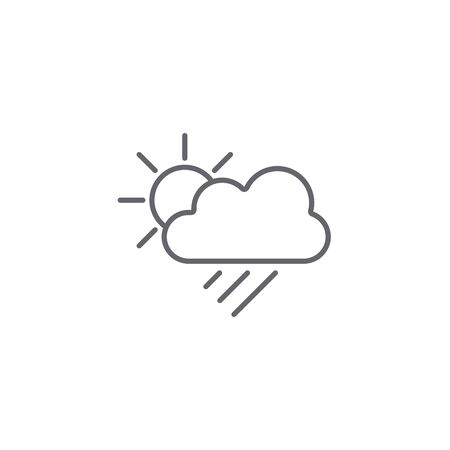 Sun, Cloud and Rain line icon, Vector weather symbol in flat design.  イラスト・ベクター素材