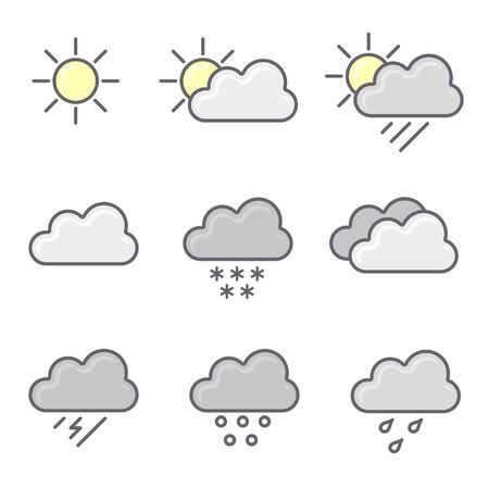Weather icons set. Flat vector symbols on white background. Stockfoto - 146275355