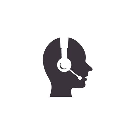 Call center vector icon, Operator sign, support service administrator silhouette icon side view.  イラスト・ベクター素材