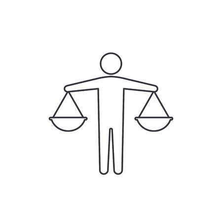 Businessman Holding Scales line icon. Vector business concept. Man hold scale symbol.