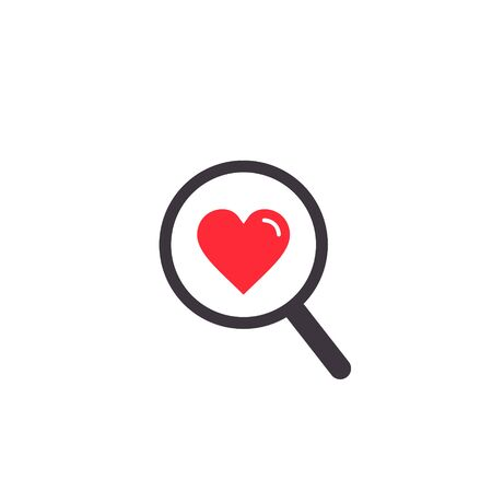 Search heart or love icon, vector. Magnifying glass with heart inside. Dating concept illustration. Ilustração