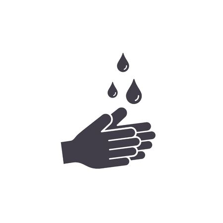 Hand washing icon. Hands with water drops symbol. Prevention against viruses, bacteria, coronavirus. Concept of hygiene Vector illustration.