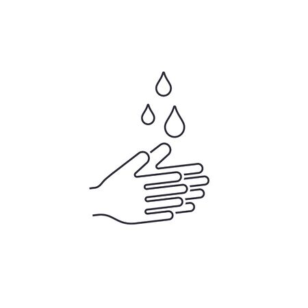 Hands with water drops line icon. Prevention against viruses, bacteria, coronavirus. Concept of hygiene Vector illustration.