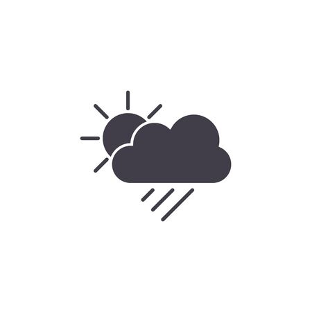 Weather icon. Sun, Cloud and Rain symbol, Vector isolated weather symbol in flat design. Stockfoto - 146735665