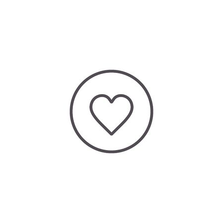 Heart icon, line love symbol isolated on circle button. Vector.  イラスト・ベクター素材