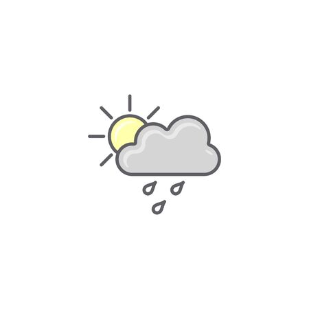 Weather icon, Vector. Sun, Cloud and Rain symbol isolated on white in flat design.