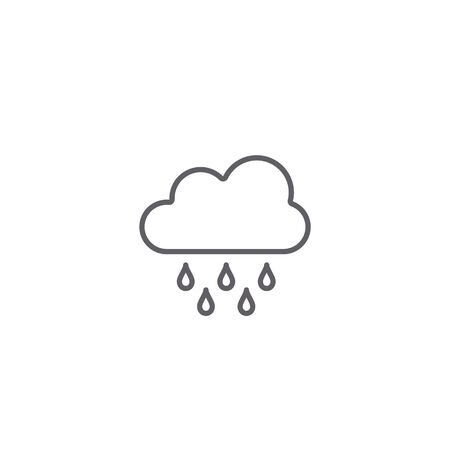 Cloud rain icon, Weather line symbol isolated on white background.