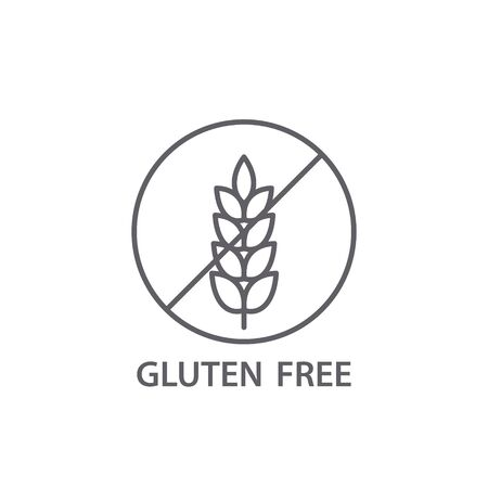 Gluten free sign, food allergy product dietary label flat vector icon.