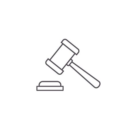 Judge gavel line Icon, Vector Simple illustration isolated on white background.  イラスト・ベクター素材