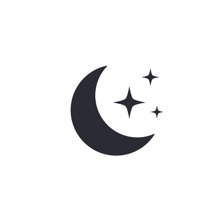 Moon and stars icon, Vector isolated symbol.