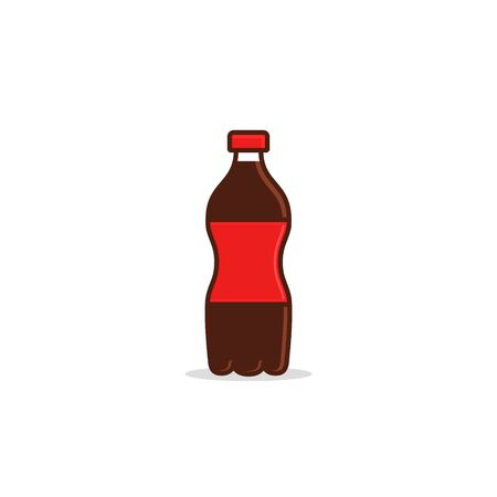 Water cola beverage bottle icon, Vector flat illustration.