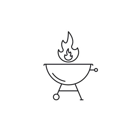 BBQ Barbecue Grill icon, Vector isolated line symbol on white background.
