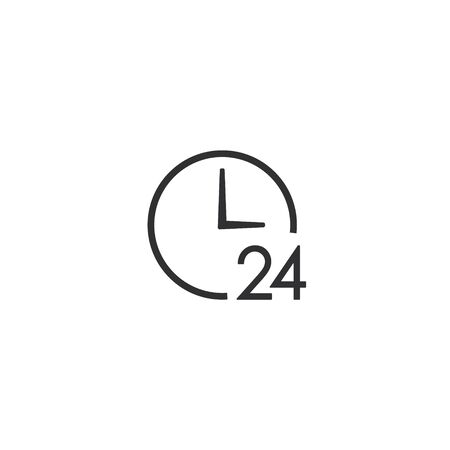 Clock 24 Icon, Time symbol, Vector isolated illustration.