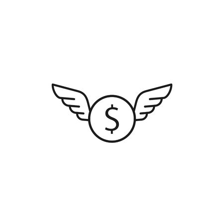 Money coin and wings line icon fly concept, Vector isolated illustration. 矢量图像