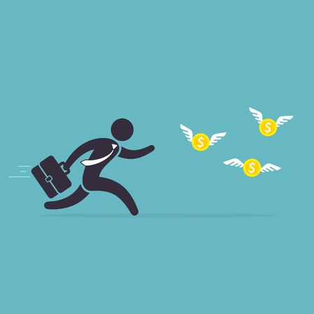 Businessman runs after money flies away. Man in a hurry for coins with wings. Vector illustration. Concept of desire for wealth. Иллюстрация