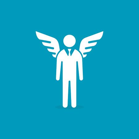 Angel investor icon. Businessman with wings. Business angel. Investment. Vector isolated illustration on blue background.