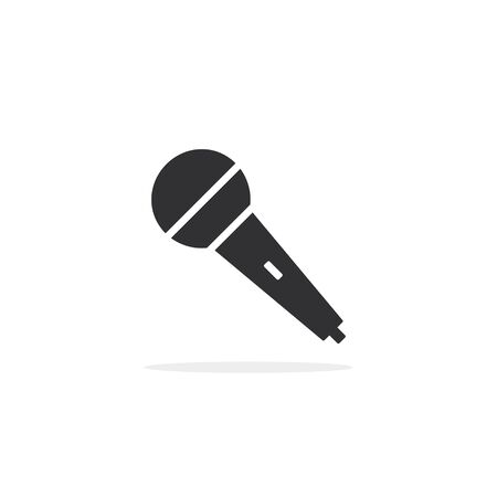 Microphone icon. Vector isolated simple flat design illustration. Иллюстрация