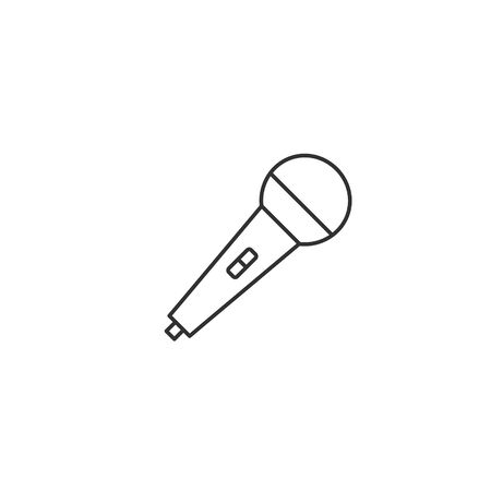 Microphone line icon. Vector isolated simple flat design outline illustration. Иллюстрация