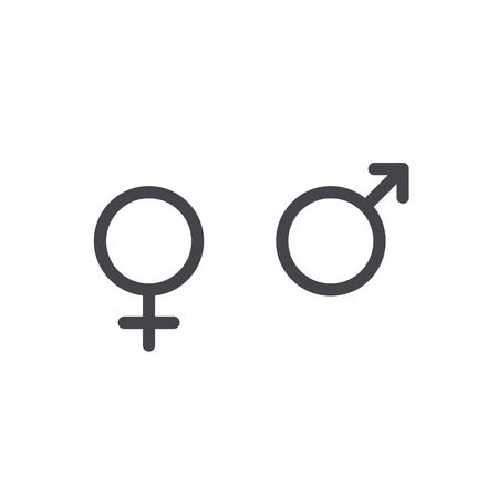 Male and female icon sign. Flat symbol isolated on white background.