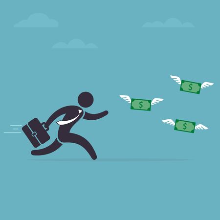 Businessman runs after money flies away. Man in a hurry for money with wings. Vector illustration. Business Concept. Иллюстрация