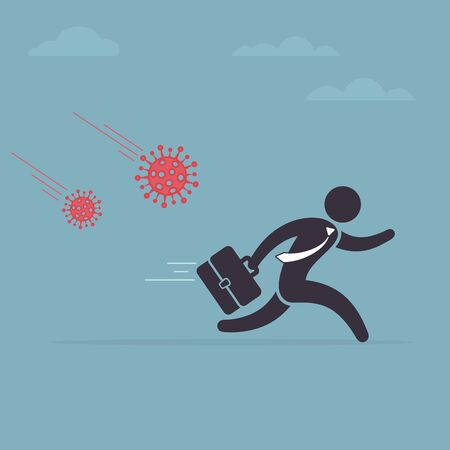 Businessman is running away from the virus. Coronavirus crisis, covid-19 pandemic concept. Modern vector illustration.