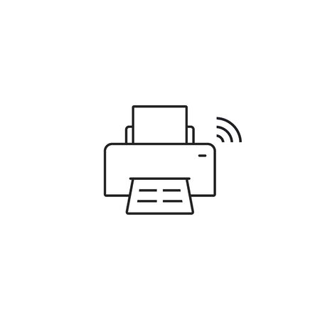 Printer with wifi icon, Wireless connection. Vector isolated flat design line illustration. Иллюстрация