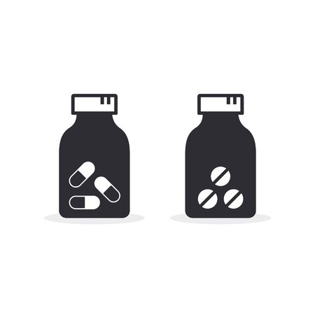 Pills jar icon Vector for web design isolated on white background.