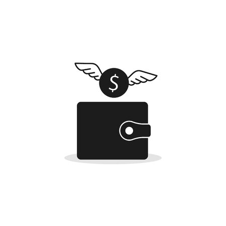 Money fly out of the wallet icon, Vector isolated flat design illustration. 矢量图像