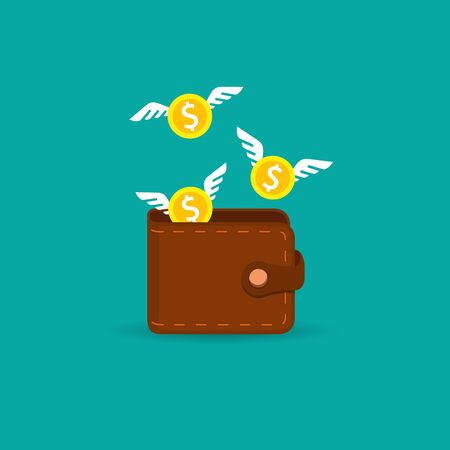 Money fly out of the wallet, Vector isolated flat design illustration. 矢量图像