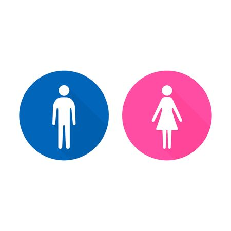 Man and Woman icon with long shadow, flat design. Vector illustration. 矢量图像