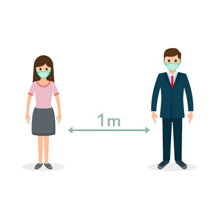Social distancing between people, Coronovirus epidemic protective distance. Vector flat design illustration.