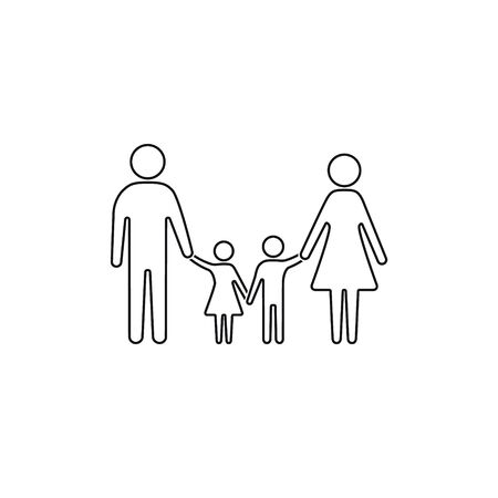 Family icon line sign, father mother daughter son isolated Vector illustration.