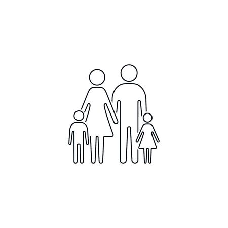 Family icon line sign, father mother daughter son isolated Vector outline illustration.