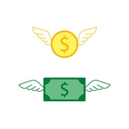 Money coin with wings icon fly concept, Vector isolated business illustration.
