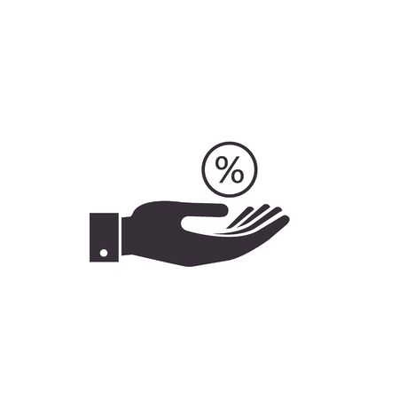 Percentage on hand web icon. vector flat design business concept.