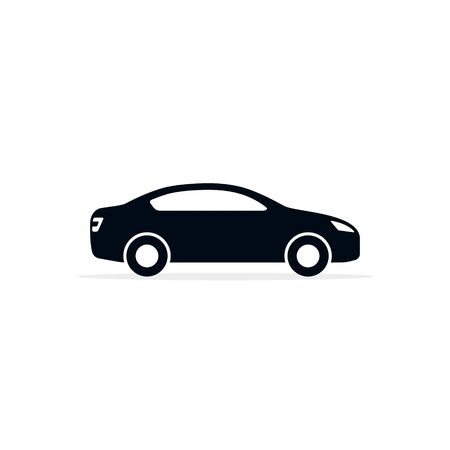 Car Icon, Vector isolated illustration. Side wiew car silhouette. Иллюстрация