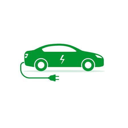 Electric car icon, Vector isolated electro car symbol. Иллюстрация